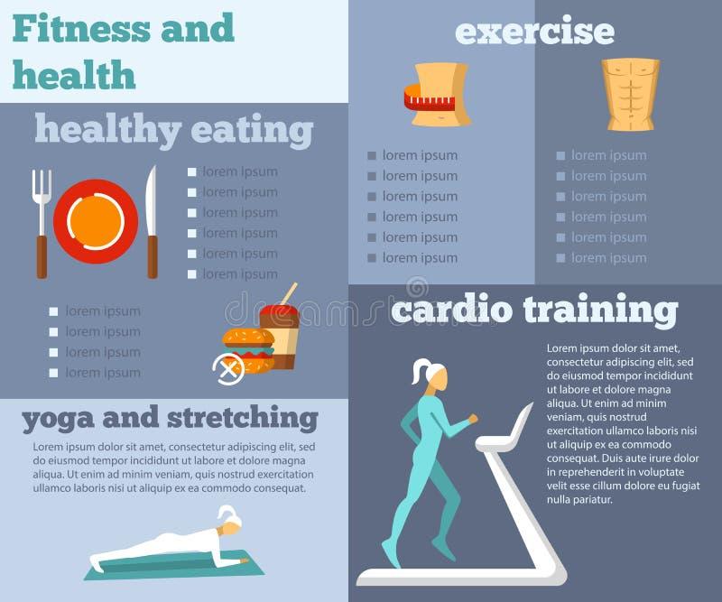 Aptitud y salud completamente infographic libre illustration
