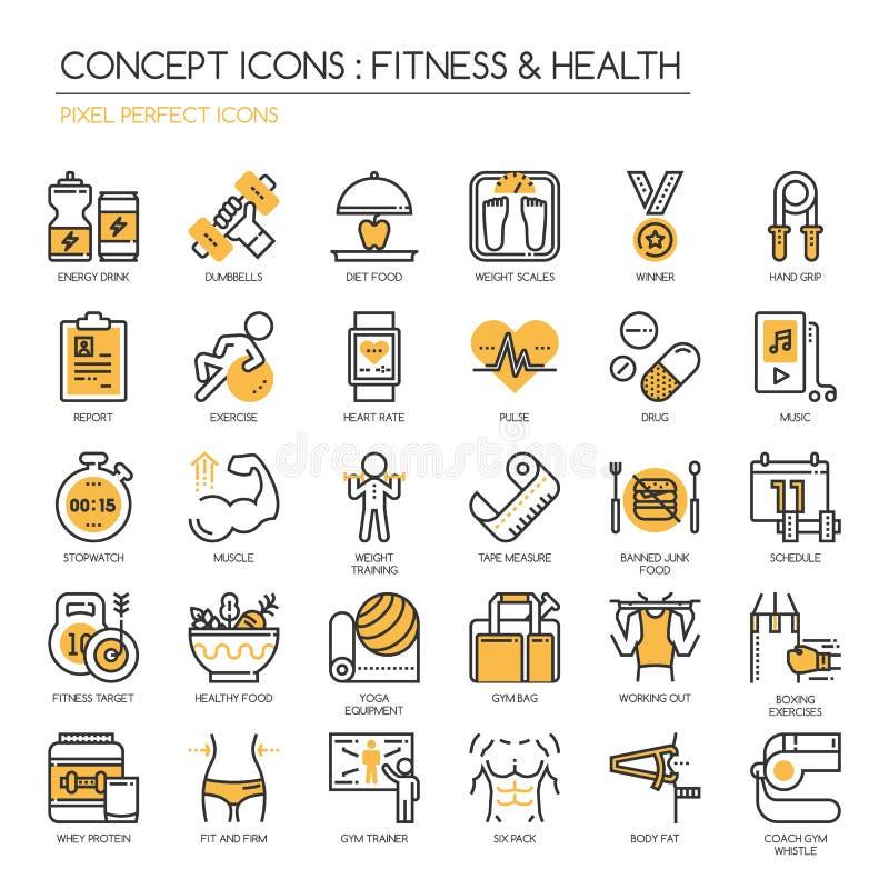 Aptitud y salud, icono perfecto del pixel libre illustration