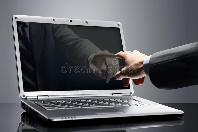 Aptop screen over black background royalty free stock image