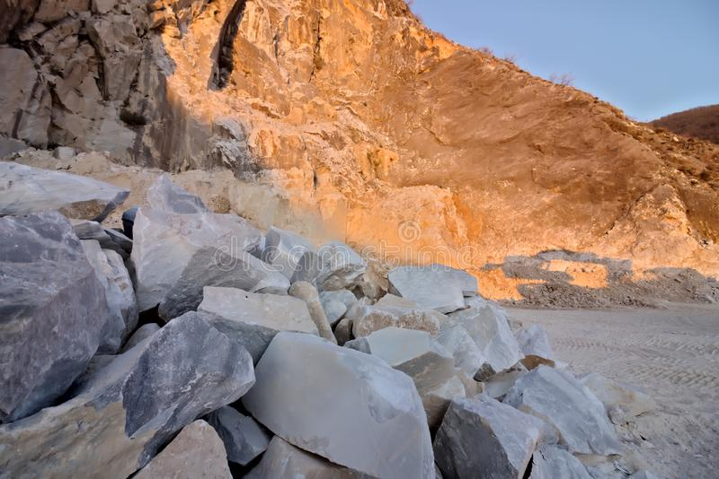 Apuan Alps, Carrara, Tuscany, Italy. March 28, 2019. A quarry of white marble stock image