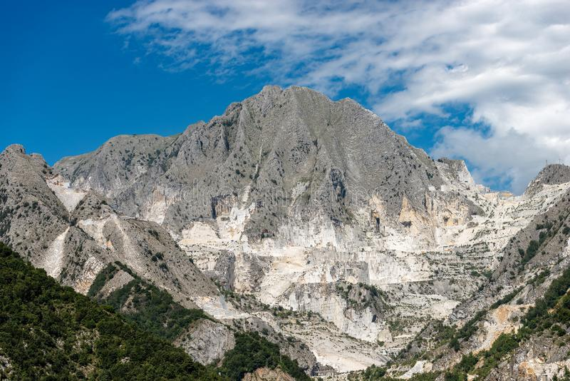 Apuan Alps Italy - Famous marble quarries of Carrara. Apuan Alps in Italy with the famous white marble quarries of Carrara, Tuscany, Europe royalty free stock photos