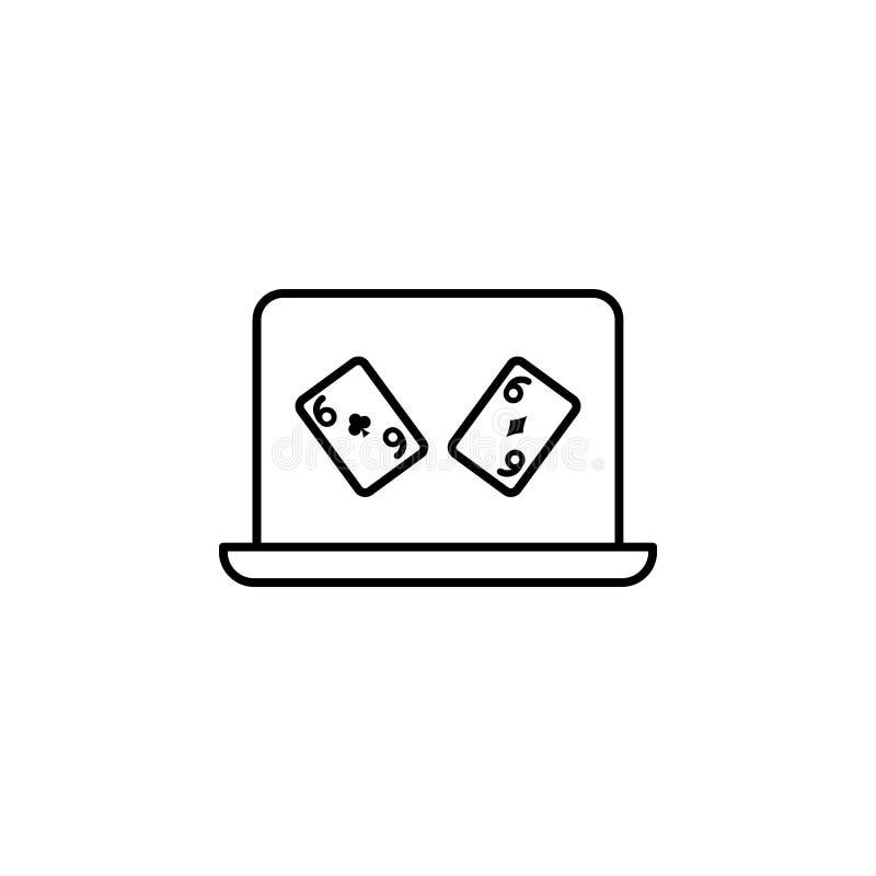 apuesta en línea, portátil, icono del casino. Elemento del icono del casino stock de ilustración