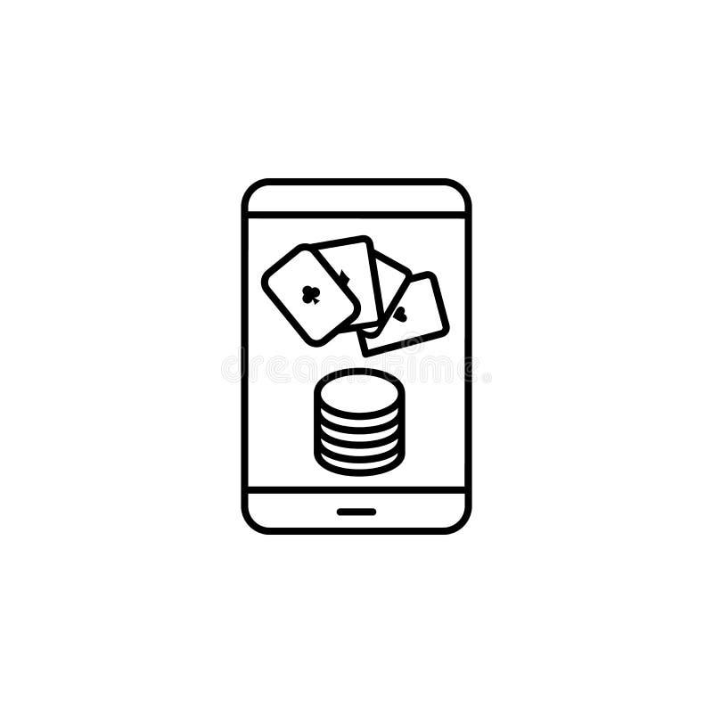 apuesta en línea, teléfono, icono de casino. Elemento del icono del casino libre illustration