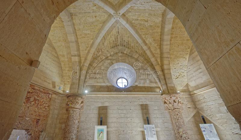 Apulia, italy: historic Castel del Monte sanctum. Castel del Monte interior, the famous castle built using an octagonal shape by the Holy Roman Emperor Frederick royalty free stock photography