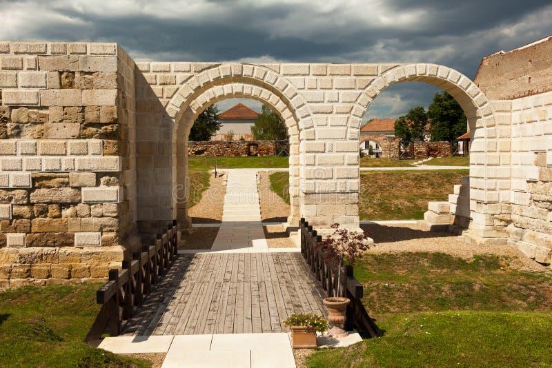 Apulum Roman castra in Romania. Ruins of the Apulum Roman castra in Alba Iulia, Romania stock photo