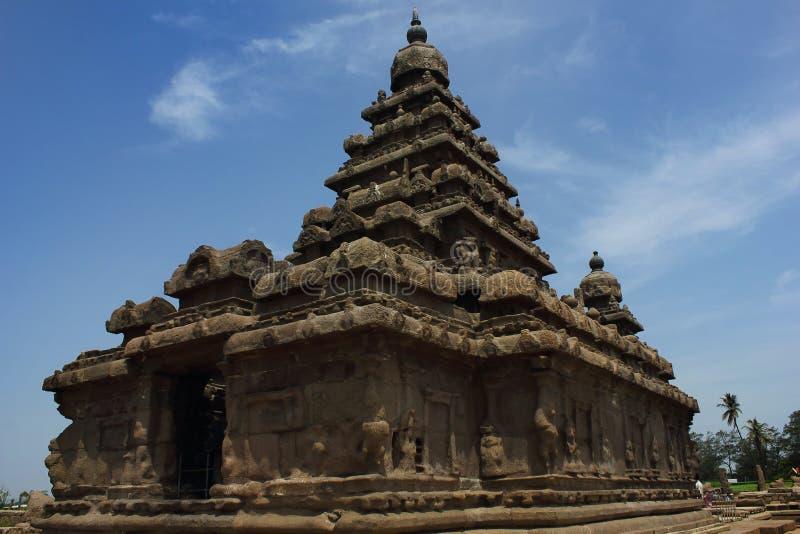 Apuntale el templo, sitio del patrimonio mundial en Mahabalipuram, Chennai, la India fotografía de archivo