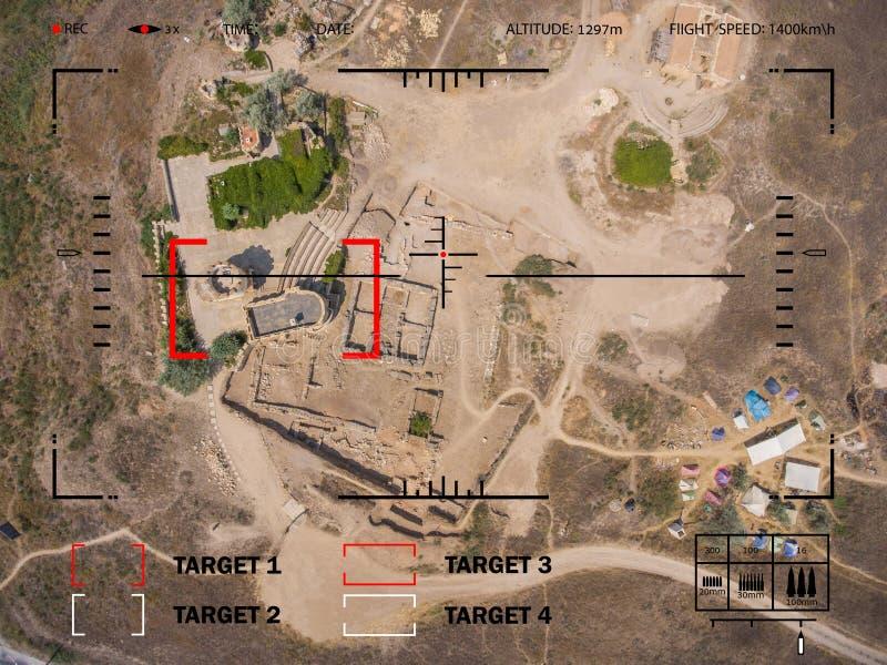 Apuntar el bombardero a la blanco en el desierto Avión del visor stock de ilustración