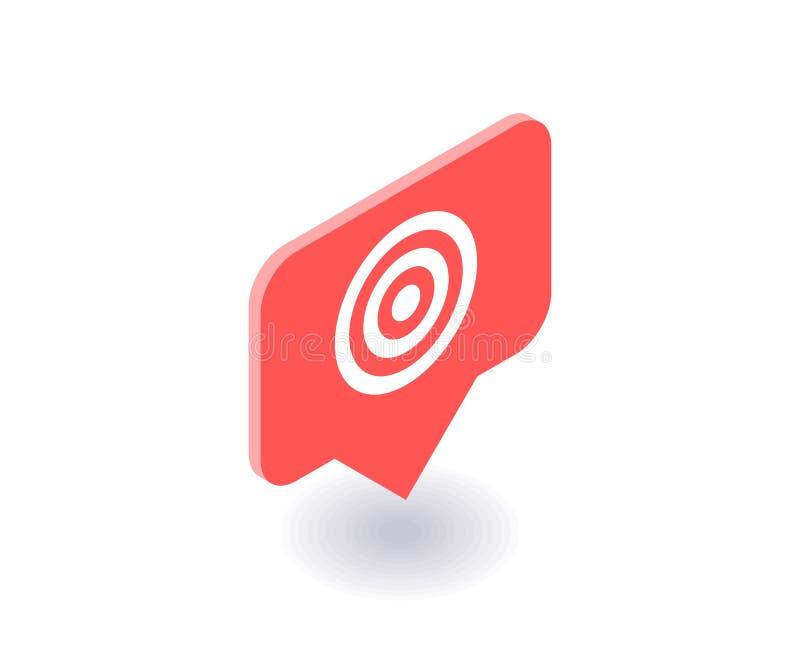 Apunte el icono, símbolo del vector en el estilo isométrico plano 3D aislado en el fondo blanco Medios ejemplo social ilustración del vector
