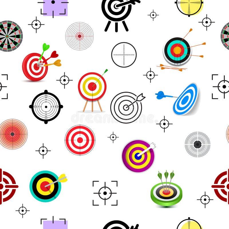 Apunte la flecha del vector del icono en el objetivo de la diana y la meta del sistema del ejemplo de la estrategia empresarial d libre illustration