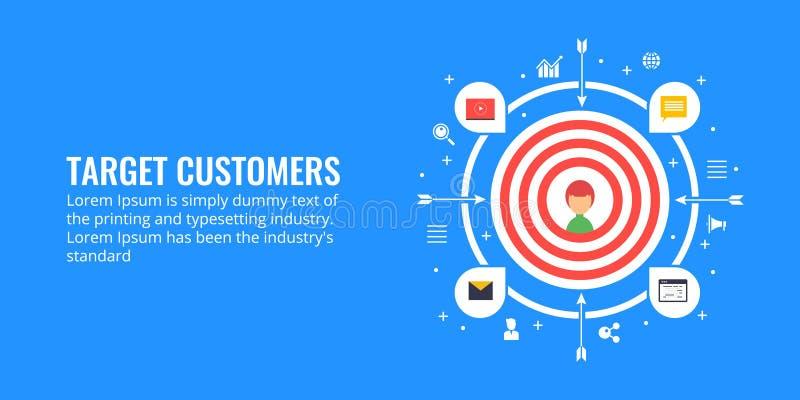 Apunte a los clientes, generación de la ventaja, concepto de la segmentación de mercado Ejemplo plano del márketing del diseño ilustración del vector