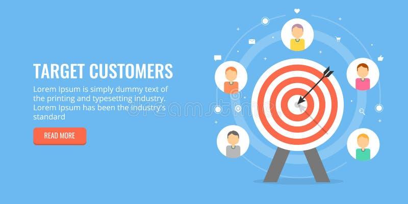Apunte a los clientes para el negocio en línea, atrayendo las nuevas ventajas Bandera plana del márketing del diseño stock de ilustración