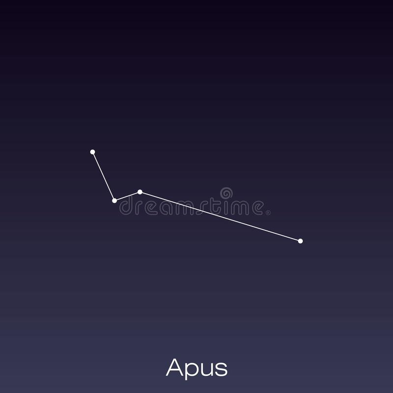 Constellation as it can be seen by the naked eye. Apus constellation as it can be seen by the naked eye stock illustration