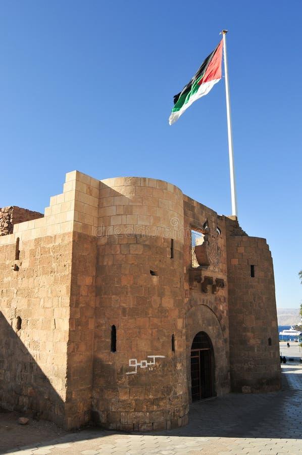 Aqaba fort i Aqaba, södra Jordanien royaltyfria foton