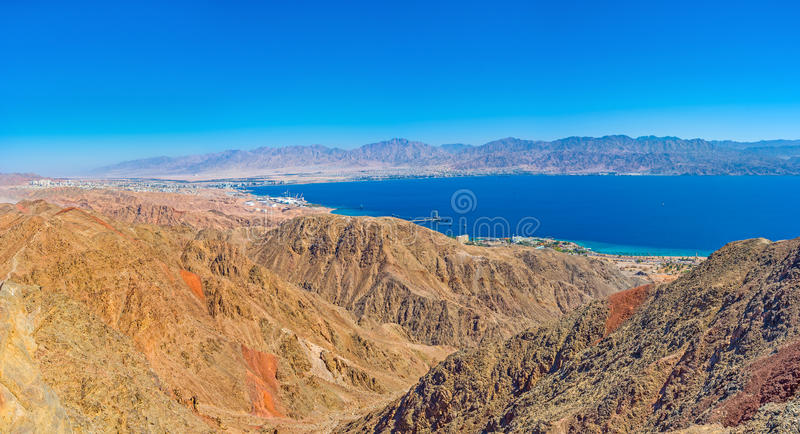 The Aqaba Gulf from Zefahot Mount royalty free stock photo