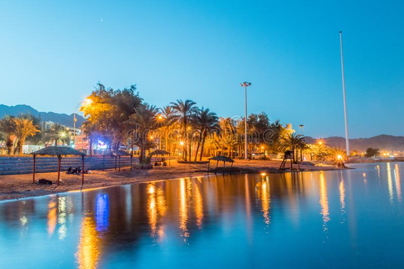 View of Aqaba beach in the early morning royalty free stock image