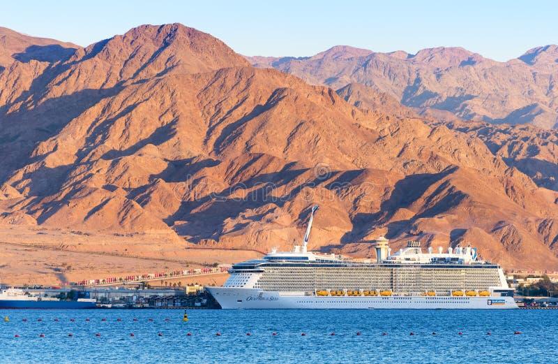 AQABA, JORDAN - MAY 19, 2016: Royal Caribbean International cruise ship, Ovation of the Seas. Royal Caribbean International cruise ship, Ovation of the Seas, is royalty free stock photography