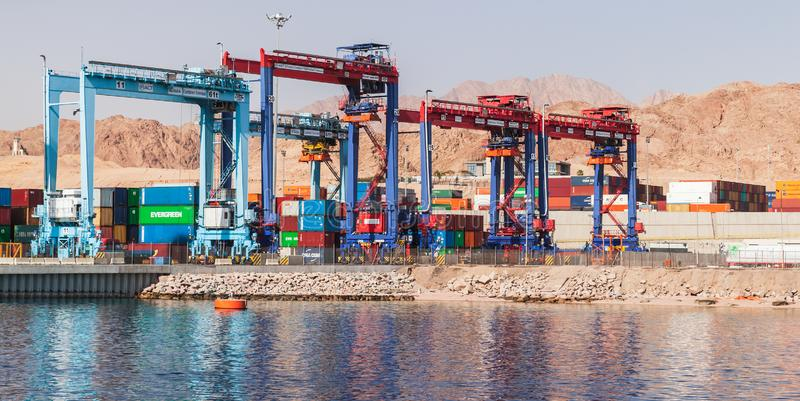 Rubber tyred gantry cranes in port royalty free stock photography