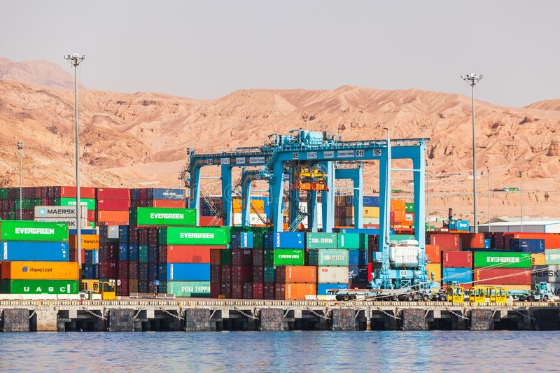 Rubber tyred gantry cranes, Aqaba royalty free stock photo