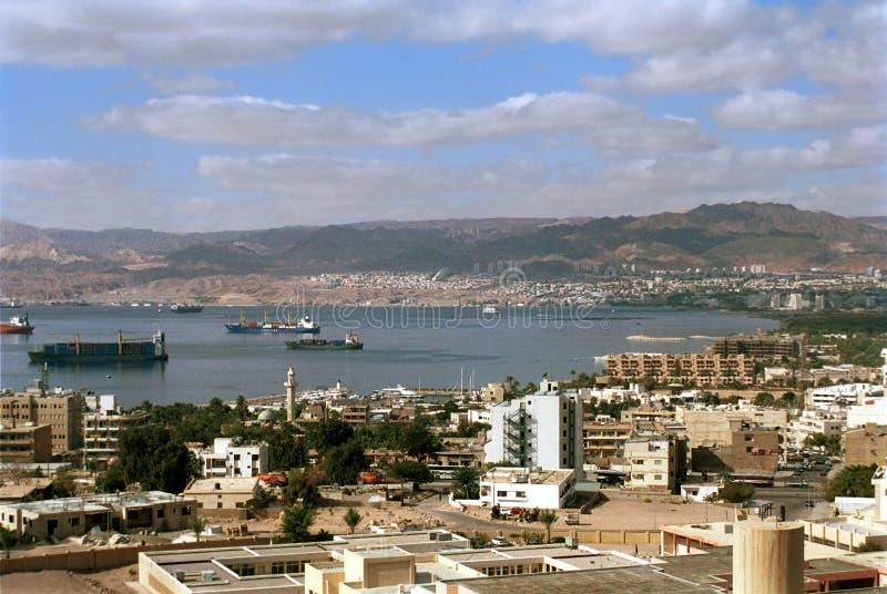 Aqaba y Eilat, Jordania imagen de archivo
