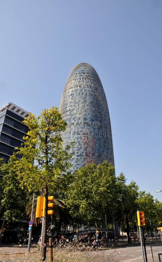 THE AQBAR TOWER IN BARCELONA SPAIN. Barcelona/catalonia/ Spain/ 22.July 2019/  New monument building The Aqbar tower in  Barcelona Catalonia Spain. Photo stock images