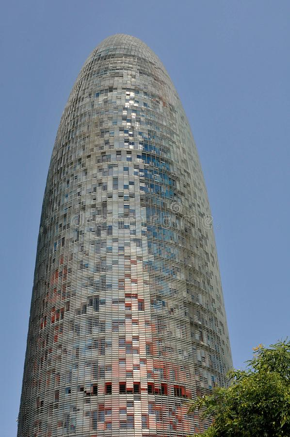 THE AQBAR TOWER IN BARCELONA SPAIN. Barcelona/catalonia/ Spain/ 22.July 2019/  New monument building The Aqbar tower in  Barcelona Catalonia Spain. Photo stock photo