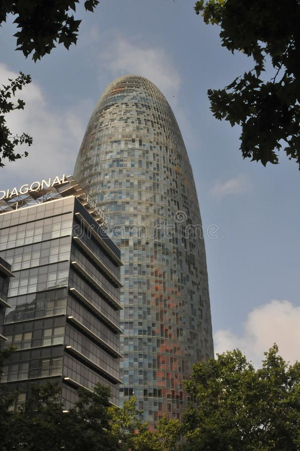 THE AQBAR TOWER IN BARCELONA SPAIN. Barcelona/catalonia/ Spain/ 21.July 2019/  New monument building The Aqbar tower in  Barcelona Catalonia Spain. Photo royalty free stock photography