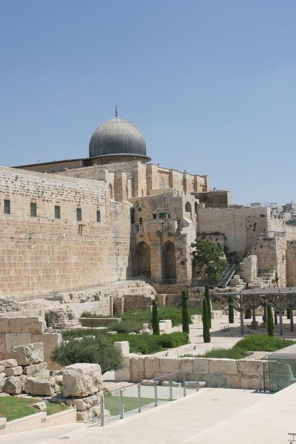 aqsa老城市el耶路撒冷清真寺 免版税库存照片