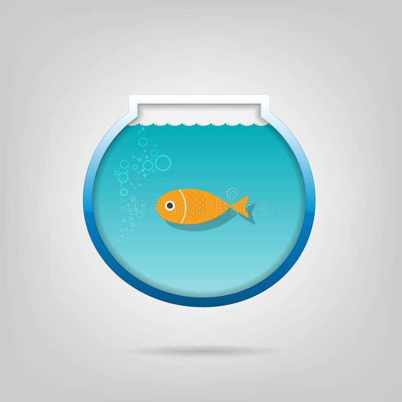Aquário creativo com um goldfish pequeno ilustração royalty free