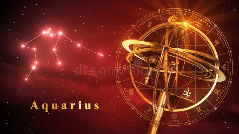 Aquário da esfera Armillary e da constelação sobre o fundo vermelho ilustração royalty free
