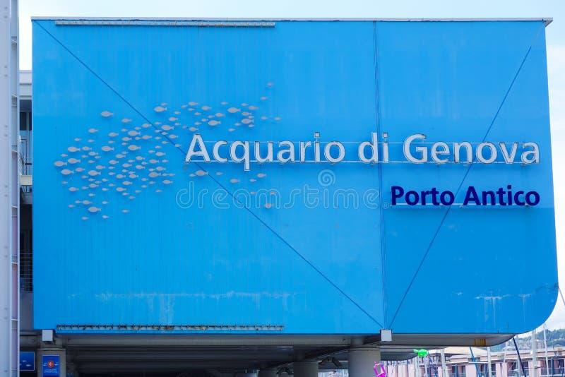 Aquário de Genebra dos di de Acquario da entrada principal de Genoa imagem de stock