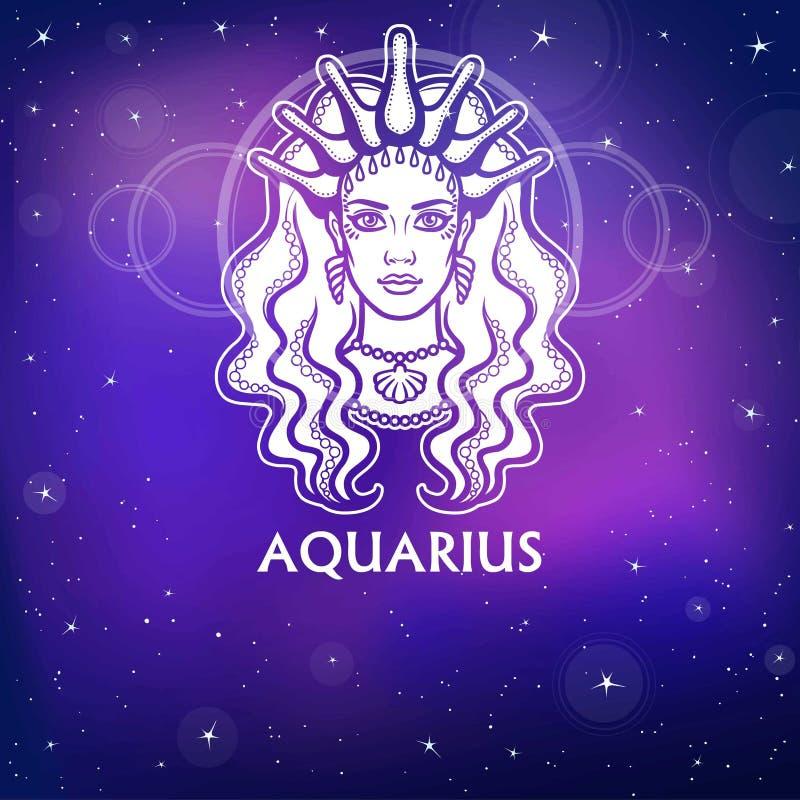 Aquário do sinal do zodíaco Princesa fantástica, retrato da animação Desenho branco, fundo - o céu estelar da noite ilustração do vetor