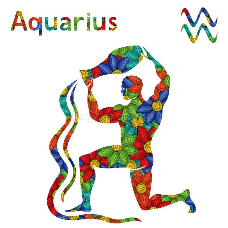Aquário do sinal do zodíaco com flores estilizados ilustração do vetor