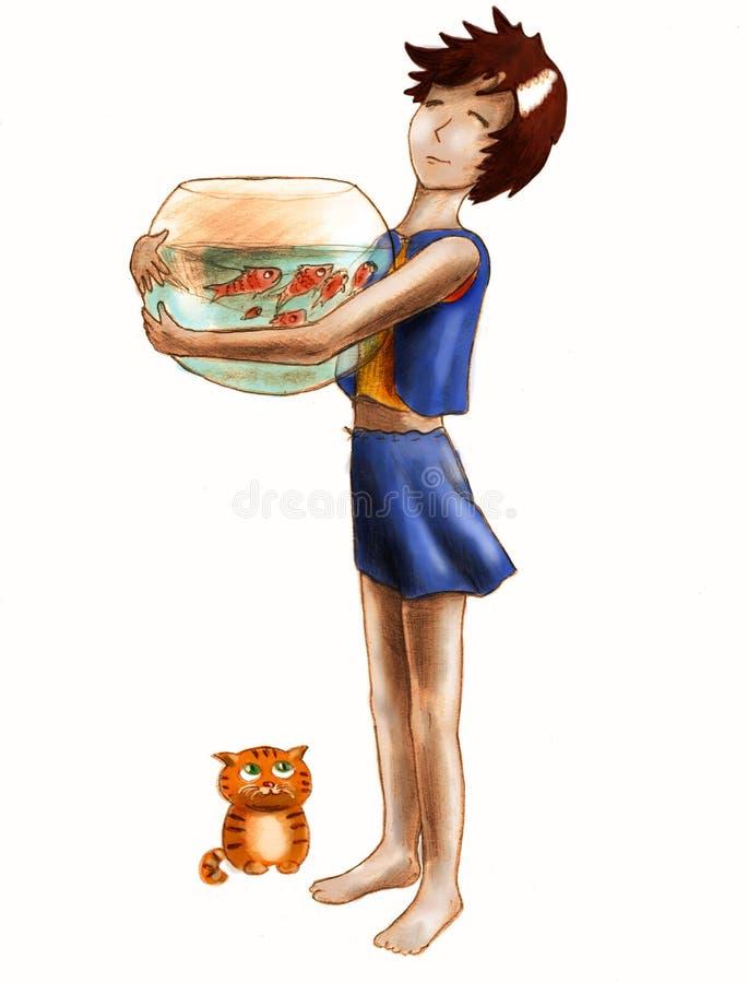 Aquário Grande E Gato Pequeno Fotos de Stock