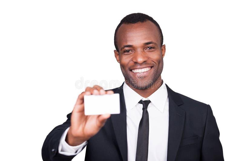 Aquí está mi tarjeta de visita. fotos de archivo libres de regalías