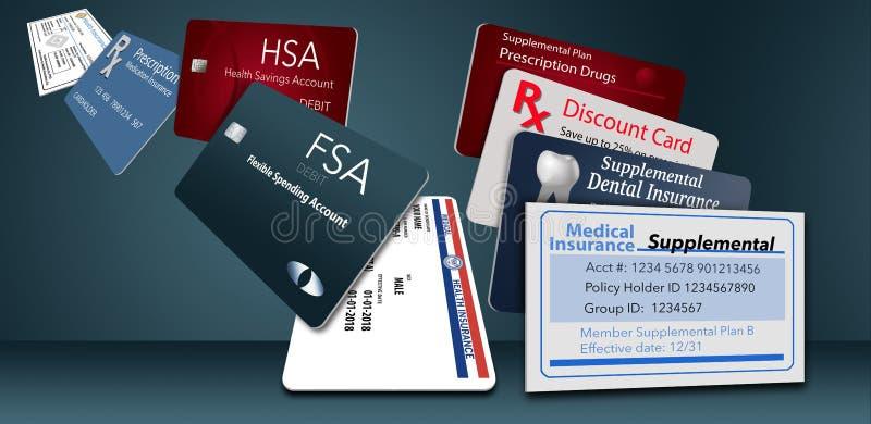 Aquí está un ejemplo con nueve de las tarjetas del seguro de la atención sanitaria que usted puede ser que lleve stock de ilustración