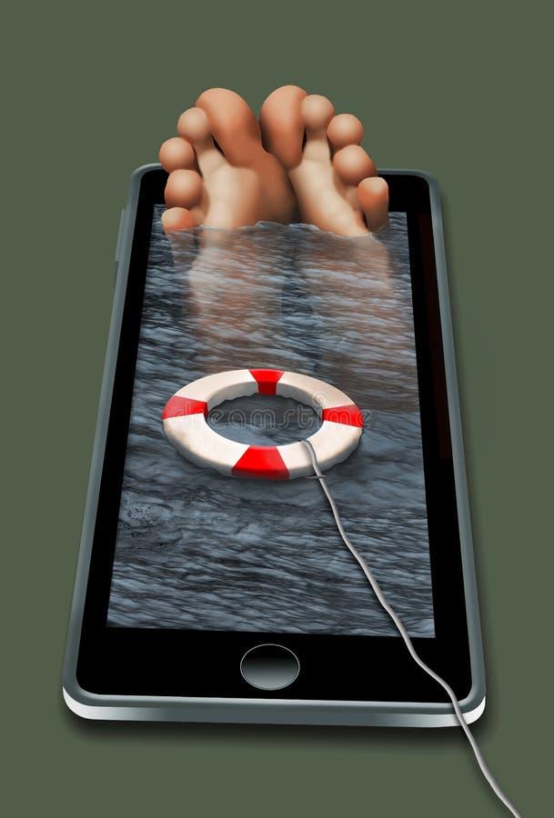 Aquí está un individuo fue sumergido tan en su teléfono celular stock de ilustración