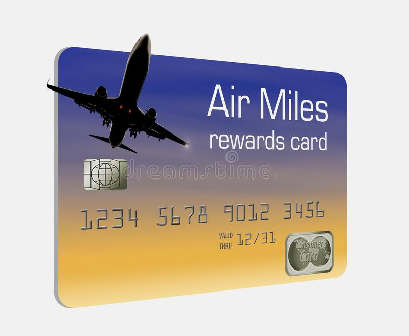 Aquí está una tarjeta de crédito genérica de las recompensas de las millas de aire ilustración del vector