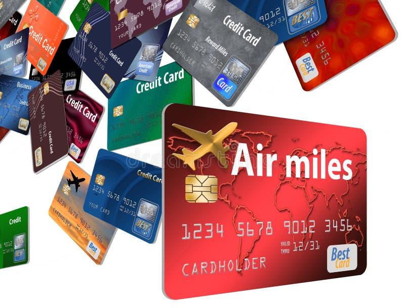 Aquí está una tarjeta de crédito de las recompensas del aire con las tarjetas de crédito de la línea aérea que flotan en el aire libre illustration