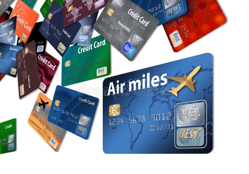 Aquí está una tarjeta de crédito de las recompensas del aire con las tarjetas de crédito de la línea aérea que flotan en el aire stock de ilustración