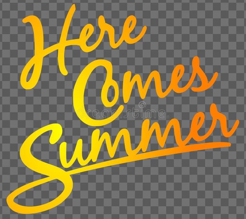 Aquí viene el ejemplo del vector del texto del verano libre illustration