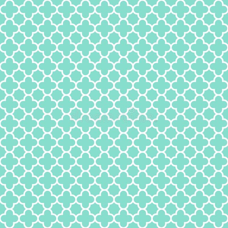 Aqua & άσπρο σχέδιο quatrefoil, άνευ ραφής υπόβαθρο σύστασης στοκ εικόνες με δικαίωμα ελεύθερης χρήσης
