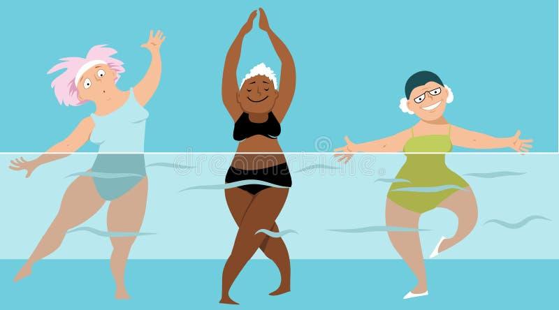 Aqua aerobiki dla seniorów ilustracja wektor