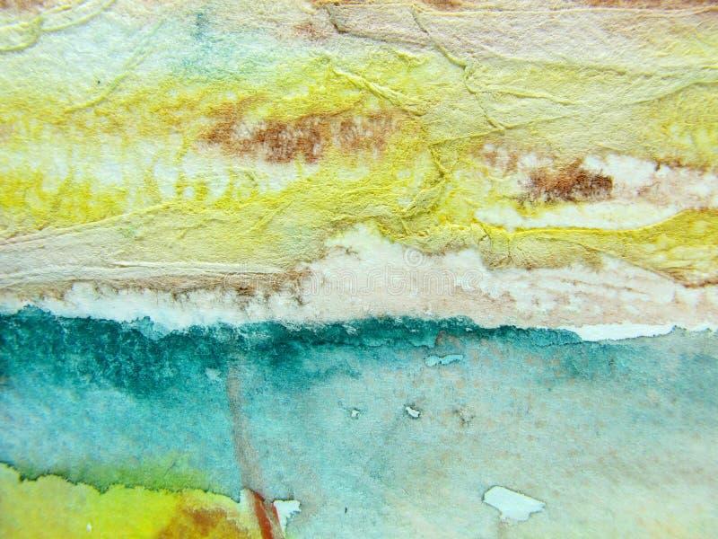 Aqua & strutture gialle dell'acquerello fotografia stock libera da diritti