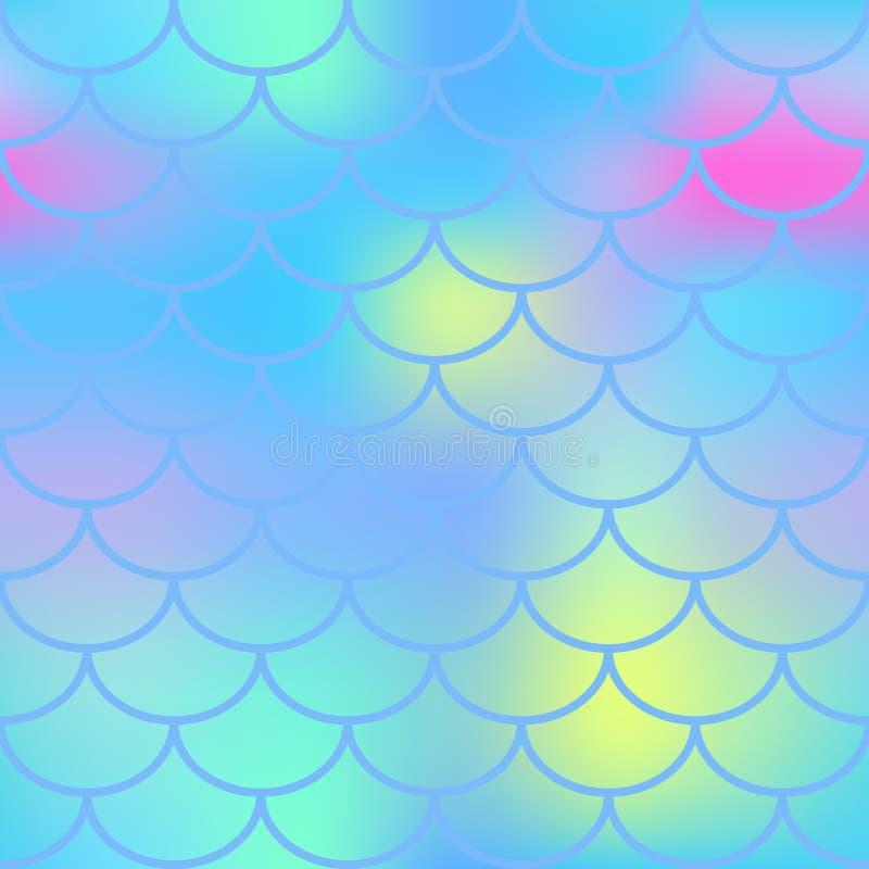 Aqua błękita ryba skóra z skala wzorem Syrenki tło ilustracja wektor