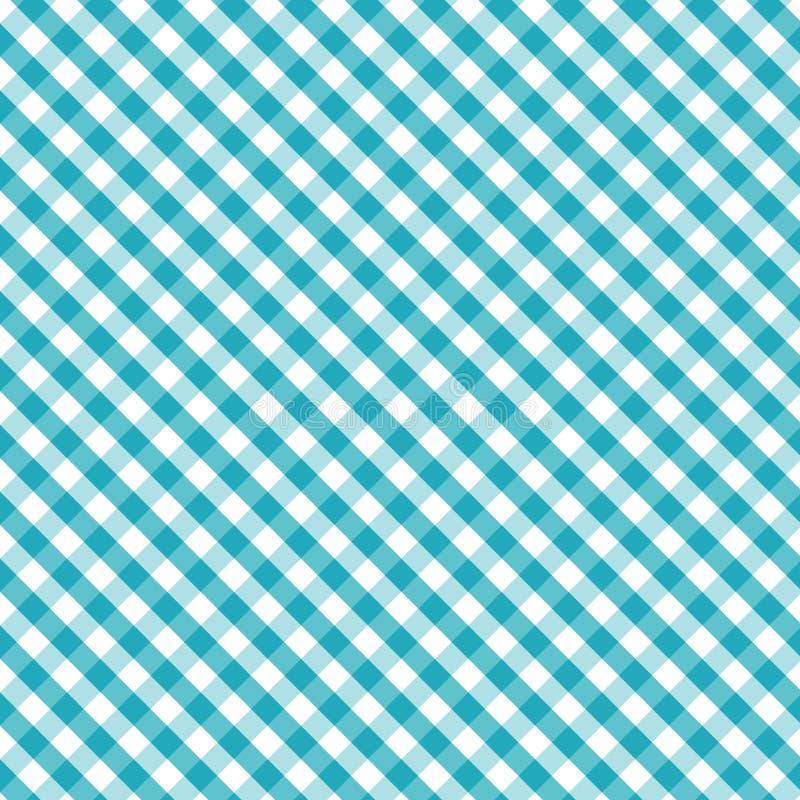 aqua background cross gingham seamless weave 库存例证