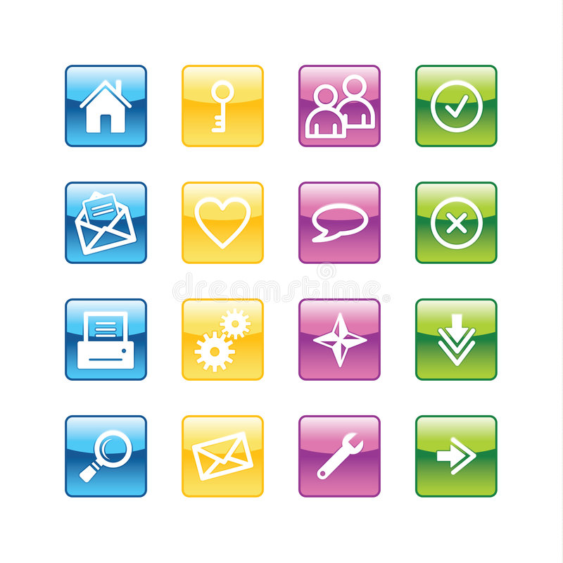 Aqua basic web icons royalty free illustration