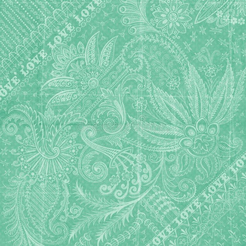 Aqua-blauer antiker Blumendamast-Hintergrund stock abbildung