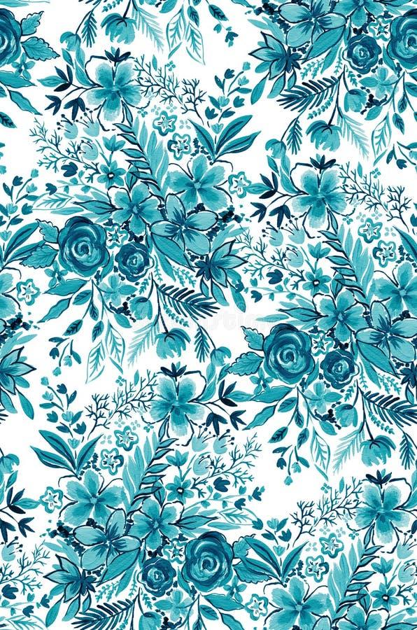 Aqua blommar, den sömlösa designen, botanisk modell royaltyfria bilder