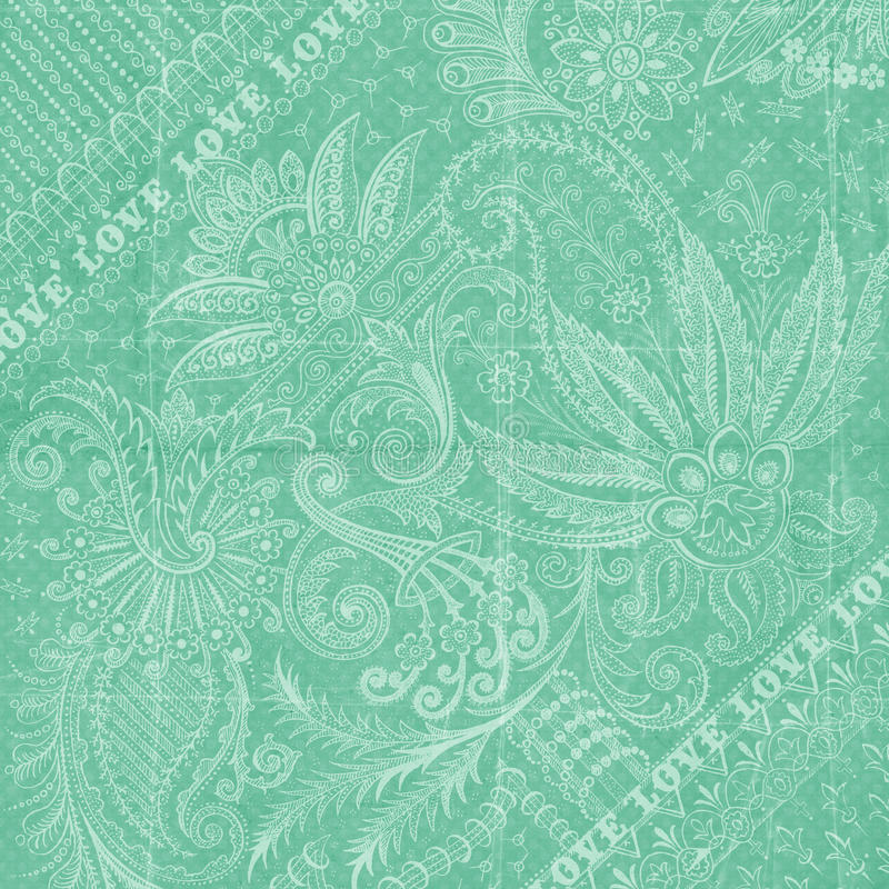 Aqua blue Antique Floral Damask Background stock illustration