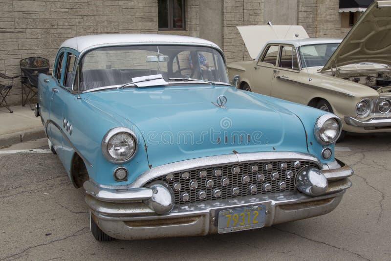 Aqua Blue Buick Special Car 1955 foto de archivo